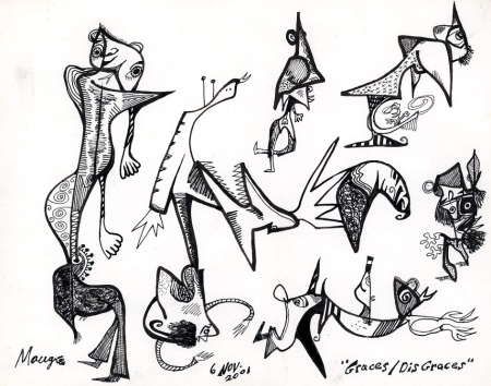 Graces Disgraces (in pen and ink from November 6, 2001) and 8 by 10 inches