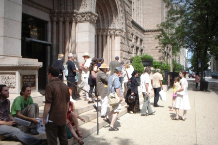 A group Leaving the Memorial at Newberry Library