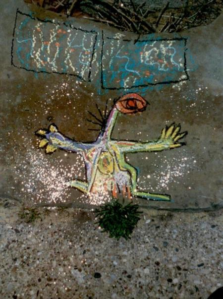 One of my sidewalk chalk drawings from the 1980's.